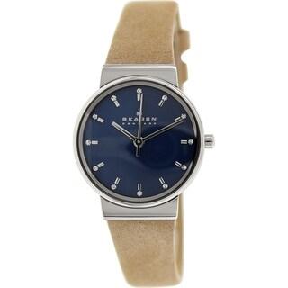 Skagen Women's Ancher SKW2191 Brown Leather Quartz Watch with Blue Dial