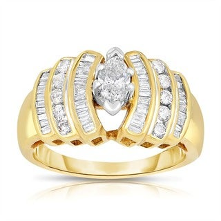 14k Yellow Gold 1ct TDW Marquise Cut Solitaire Diamond Ring