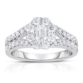 14k White Gold 1 1/4ct TDW Emerald Cut Halo Diamond Engagement Ring (H-I, I1-I2)