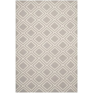 Safavieh Hand-woven Moroccan Dhurries Grey/ Ivory Wool Rug (6' x 9')