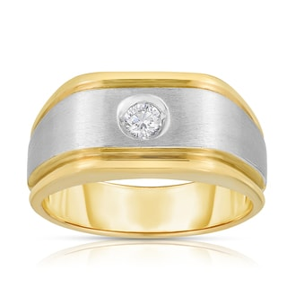 14k Two-tone Gold 1/5ct TDW Solitaire Diamond Ring (J-K. SI1-SI2)