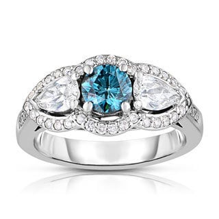 14k White Gold 1 5/8ct TDW 3-stone Blue Solitaire Diamond Engagement Ring (Blue, I1-I2)