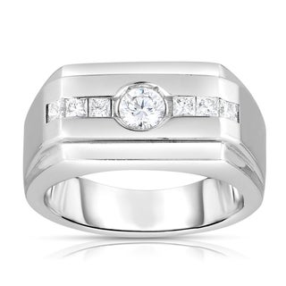 18k White Gold 3/4ct TDW Round Diamond Men's Ring (H-I, SI1-SI2)