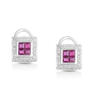18k White Gold 1/4 TDW Framed Composite Diamond and Ruby Earrings (H-I, SI2-I1)