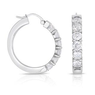 14k White Gold 3ct TDW Diamond Hoop Earrings (H-I, I1-I2)