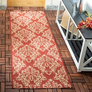 Safavieh Indoor/ Outdoor Courtyard Red/ Cream Rug (2'3 x 10')