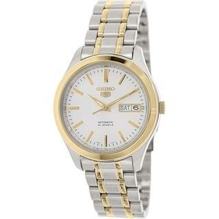 Seiko Men's 5 Automatic SNKM48K Two-tone stainless steel Automatic Watch with Silver Dial