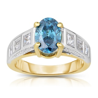 14k Two-tone Gold 2 1/4ct TDW Blue Oval-cut Diamond Engagement Ring (Blue, I1-I2)