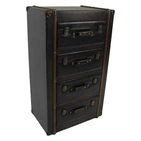 International Caravan Vintage Antique Faux Leather 4-drawer Chest - Black
