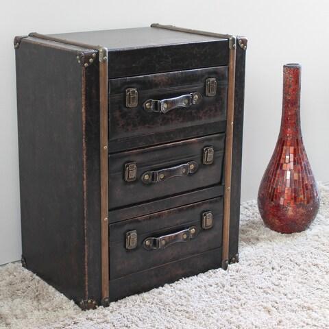 International Caravan Vintage Antique Faux Leather 3-drawer Chest