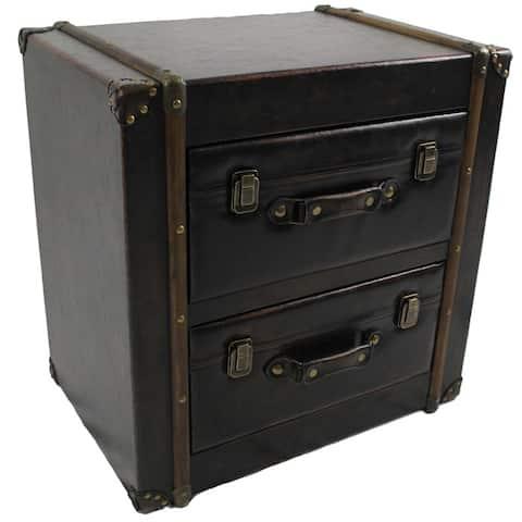 International Caravan Vintage Antique Faux Leather 2-drawer Chest