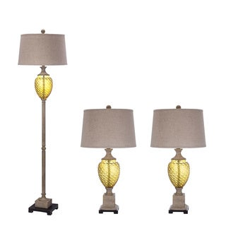 Amber Glass Metal Lamp Set in Antique Ivory Finish