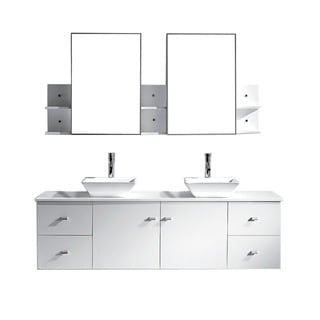 Virtu USA Clarissa 72-inch White Double Sink Bathroom Vanity Set