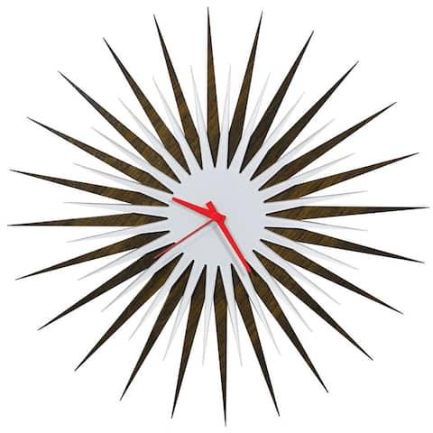 Modern Crowd 'Atomic Era Clock Walnut and White' Mid-Century Modern Starburst Wall Clock
