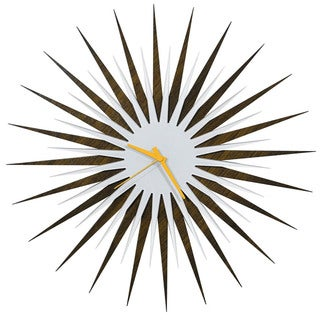 Modern Crowd 'RF Atomic Clock  Walnut and White' Midcentury Modern Starburst Wall Clock