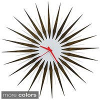Modern Crowd 'Atomic Era Clock Walnut and White' Mid-Century Modern Starburst Wall Clock