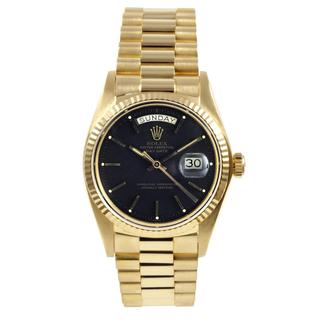 Pre-Owned Rolex Men's President Yellow Gold Black Dial Watch