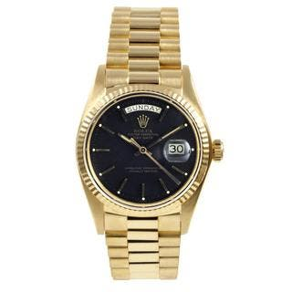 Pre-Owned Rolex Men's President Yellow Gold Black Dial Watch https://ak1.ostkcdn.com/images/products/9614645/P16800036.jpg?impolicy=medium