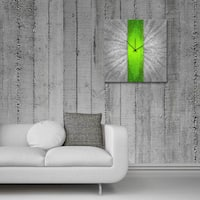 Metal Art Studio 'Green Stripe Clock' Colorful Large Modern Wall Clock