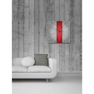 Metal Art Studio 'Red Stripe Clock' Colorful Large Modern Wall Clock