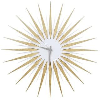 Modern Crowd 'Atomic Era Clock Maple and White' Midcentury Modern Starburst Wall Clock