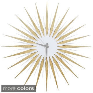 Modern Crowd 'RF Atomic Clock  Maple and White' Midcentury Modern Starburst Wall Clock