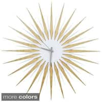 Modern Crowd 'Atomic Era Clock Maple and White' Midcentury Modern Starburst Wall Clock
