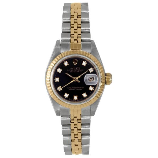 Pre-owned Rolex Women's Two-Tone Black Dial Diamond Accent Watch