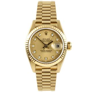 Pre-owned Rolex Women's Gold Datejust Champagne Diamond Dial