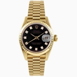 Pre-Owned Rolex Women's Gold Datejust with a Black Diamond Dial