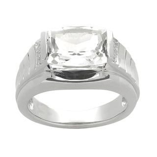Gems For You Sterling Silver Men's White Topaz and Diamond Accent Ring