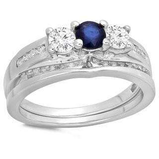 14k White 1 1/10ct TDW White Diamond and Blue Sapphire 3-stone Bridal Set (H-I, I1-I2)