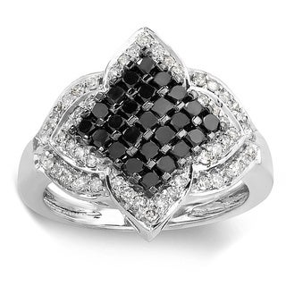 10k White Gold 1 1/10ct TDW Black and White Diamond Ring (H-I, I1-I2)