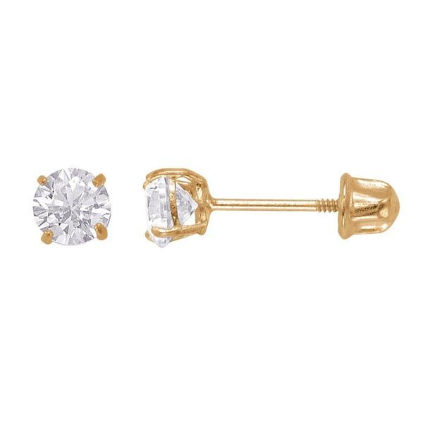 14k Gold Brilliant-cut Cubic Zirconia 4mm Stud Earrings