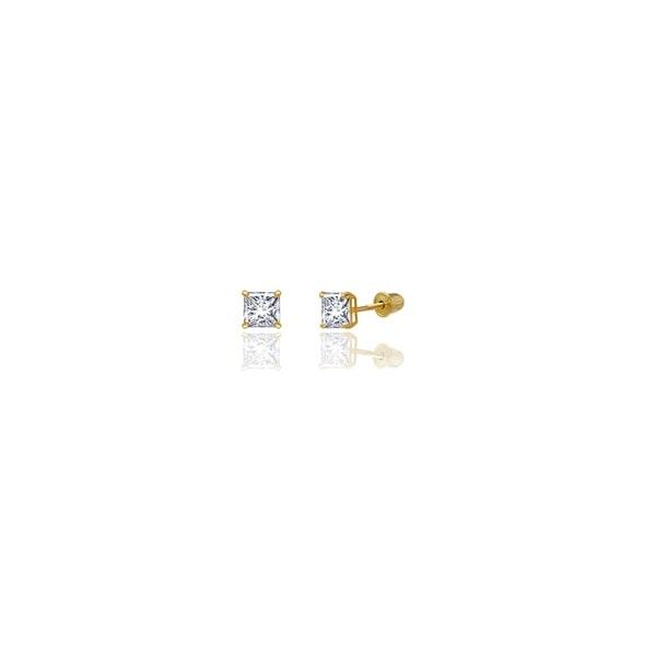 14k 4mm Square Cz Post Earrings