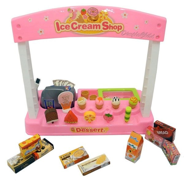 DimpleChild Battery Operated Play Ice Cream Shop with Cash Register and Play Food