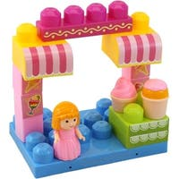 DimpleChild 15-piece Building Block Ice Cream Shop with Girl Figurine