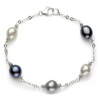DaVonna Sterling Silver Multi-colored Pearl Link Bracelet (8-9 mm)