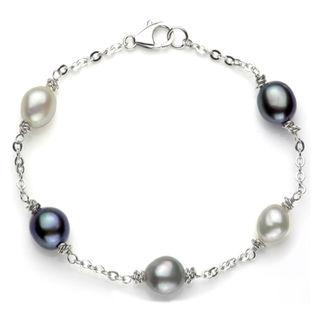 DaVonna Sterling Silver Multi-colored Pearl Link Bracelet (8-9 mm)