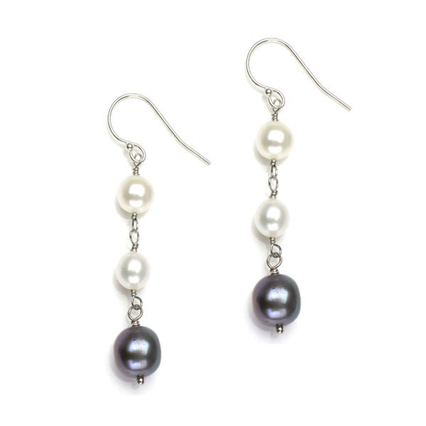 Davonna Sterling Silver Black And White Pearl Dangle Earrings 6 10 Mm