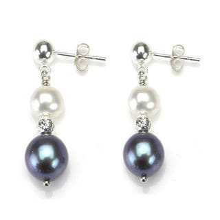 DaVonna Sterling Silver White and Black Pearl Dangle Earrings (6-10 mm)
