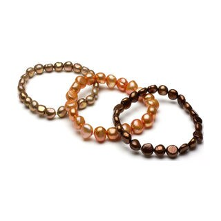 DaVonna Brown Orange and Bronze Pearl 3-pair Stretch Bracelet (8-9 mm)
