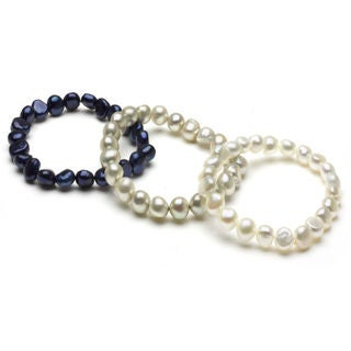 DaVonna White Silver and Regatta Pearl 3-pair Stretch Bracelet (8-9 mm)