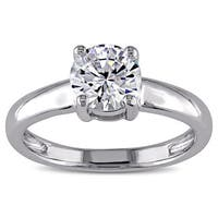 Miadora 14k White Gold White Cubic Zirconia Solitaire Engagement Ring
