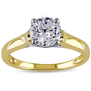 Miadora 14k Two-tone Gold White Cubic Zirconia Solitaire Engagement Ring