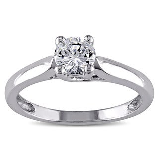 Miadora 14k White Gold White Solitaire Cubic Zirconia Engagement Ring