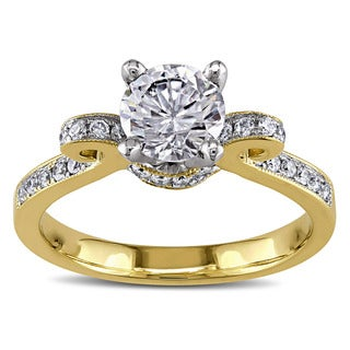 Miadora 14k Two-tone Gold White Cubic Zirconia and 1/4ct TDW Diamond Engagement Ring