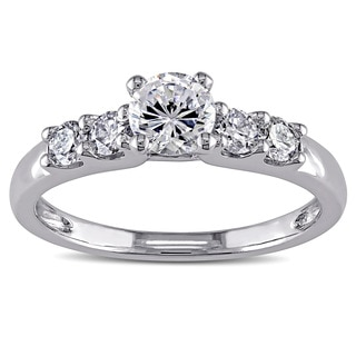Miadora 14k White Gold Cubic Zirconia and 1/3ct TDW Diamond Engagement Ring (G-H, I1-I2)