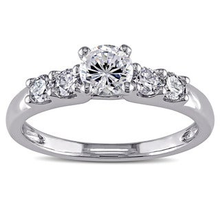Miadora 14k White Gold Cubic Zirconia and 1/3ct TDW Diamond Engagement Ring