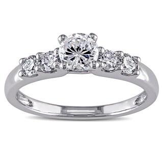 Miadora 14k White Gold Cubic Zirconia and 1/3ct TDW Diamond Engagement Ring